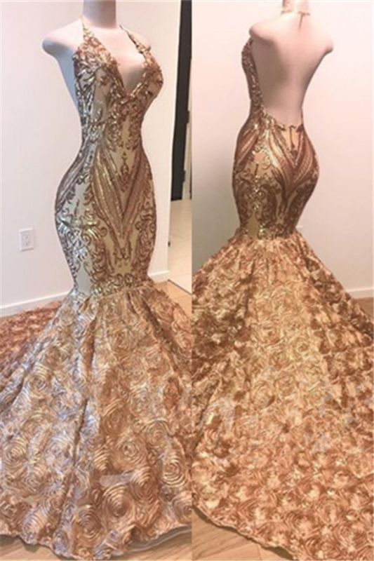 Glamorous Gold Sequins Sleeveless Prom Dresses Cheap | Shiny Mermaid Evening Gowns With Flowers Bottom