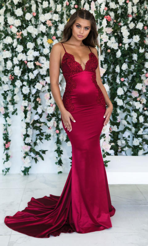 Burgundy Sleeveless Mermaid Backless Prom Dresses | Cheap Spaghetti-Straps Lace Appliques Evening Gowns