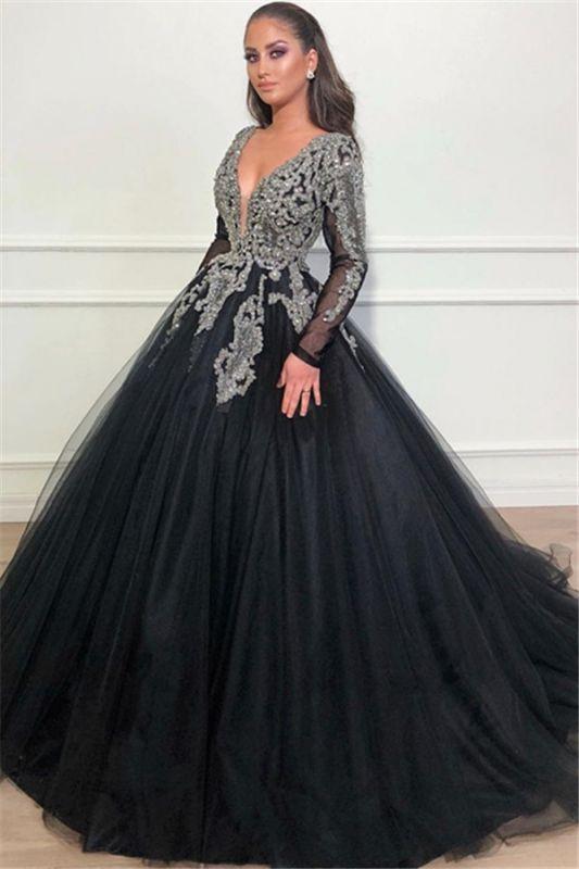 Black Ball Gown Deep V-Neck Long Sleeves Appliques Overskirt Evening Dresses
