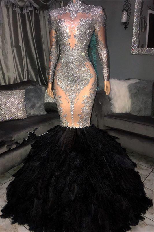 Glamorous Sliver Seuqins High Neck Long Sleeves Fur Mermaid Prom Dresses