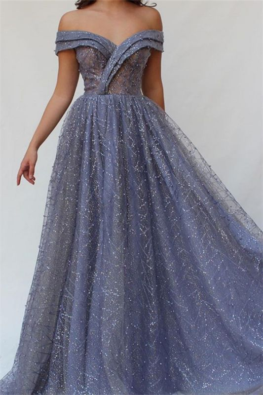Gorgeous A-Line Off The Shoulder Tulle Beaded Prom Dresses