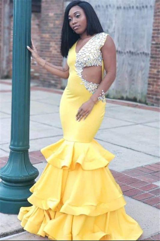 Gorgeous Yellow Straps V-Neck Crystal Ruffle Sleeveless Mermaid Prom Dress