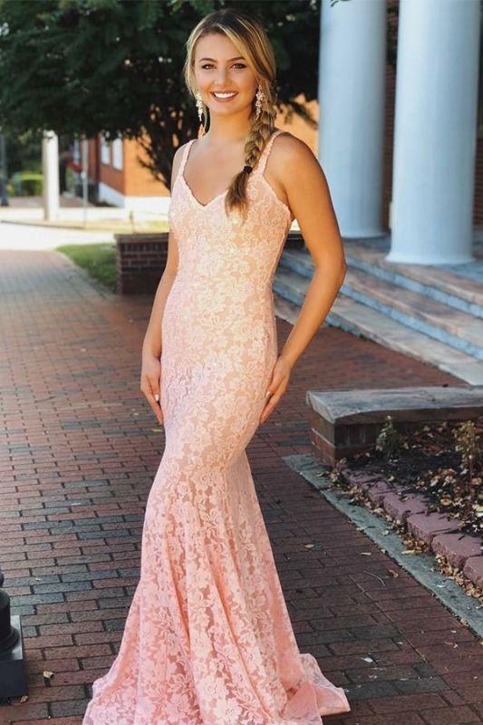 Elegant Pink Lace Spaghetti-Straps Sleeveless Mermaid Prom Dresses