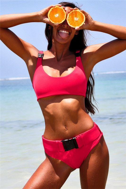 Plain Scoop Colorful Two Piece Buckled Sexy Bikini Swimsuits