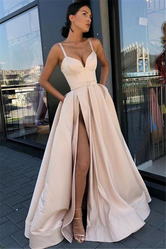 Glamorous Spaghetti-Straps Sleeveless Side-Slit  Prom Dress