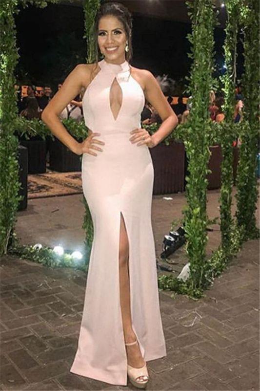 New Arrival Pink Halter Sleeveless Side-Slit Mermaid Prom Dress