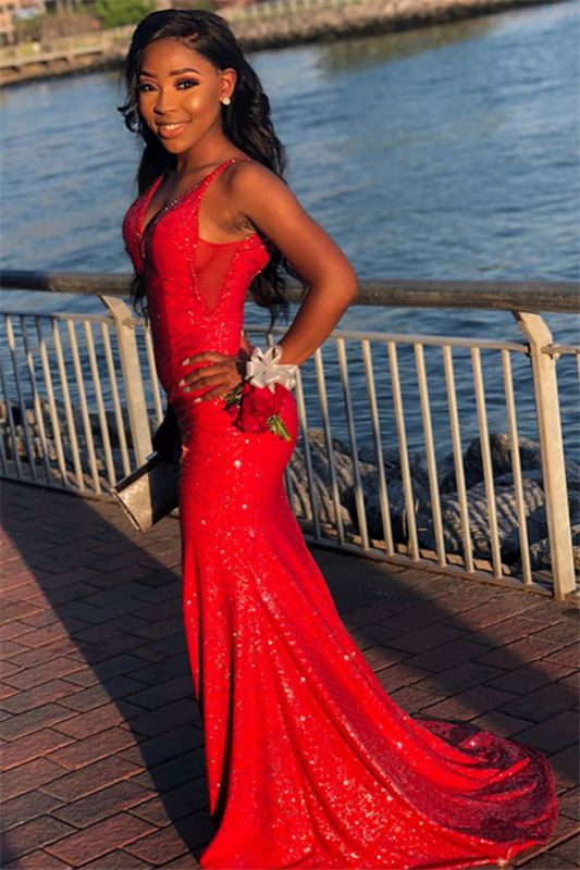 Glamorous Red Sequins Sexy Mermaid Spaghetti-Straps Long Prom Dresses