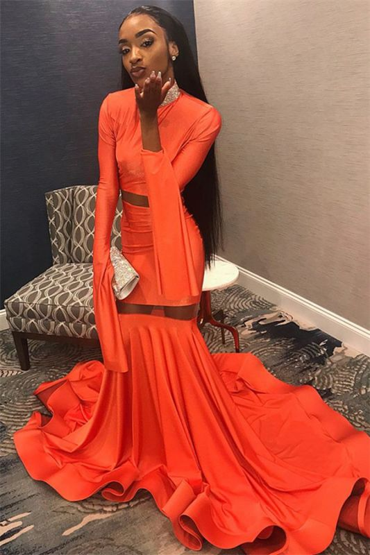 Sexy Orange Long-Sleeves High-Neck Sexy Mermaid Long Prom Dress