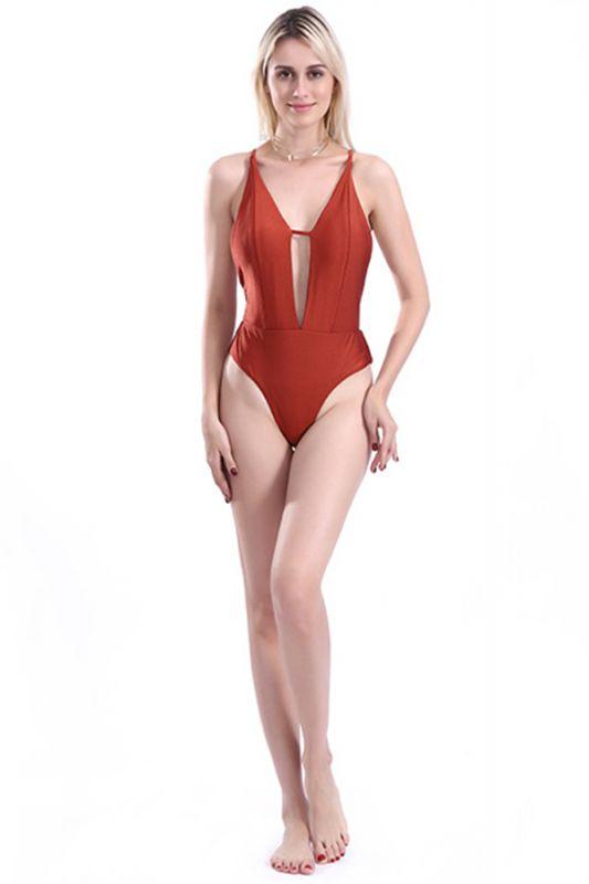 Kwyhole V-neck Criss-cross High Waist Swimsuits