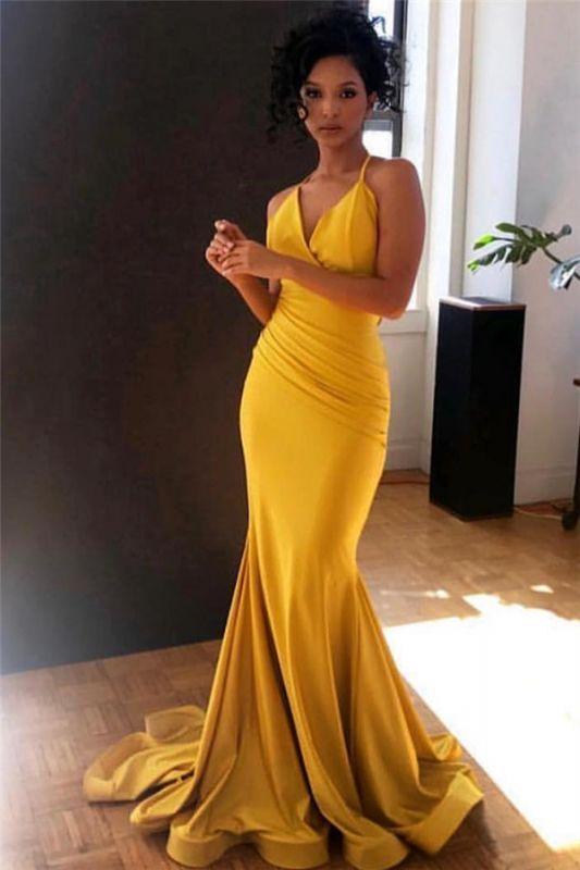 Yellow Spaghetti-Straps V-Neck Ruffle Sexy Mermaid Evening Gown