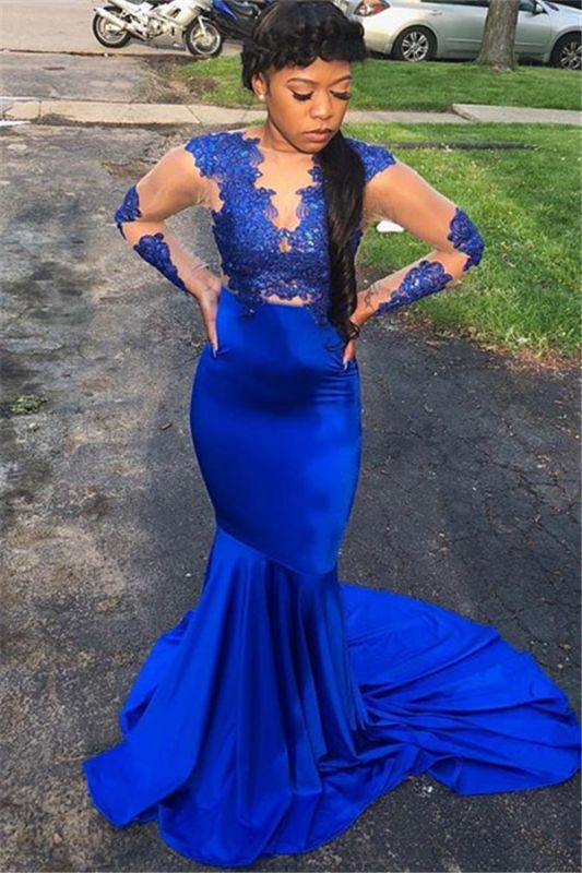 Royal Blue Long-Sleeves Appliques Sheer Tulle Sexy Mermaid Evening Gown