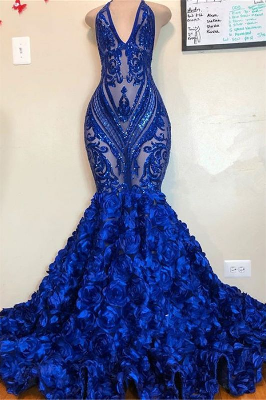 V-neck Halter Sequins Pattern Floral Sweep Train Long Prom Dresses Cheap