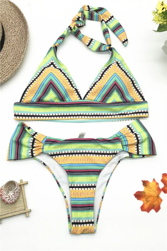 Multicolor Patterned Halter Knot Two Piece Swimwear