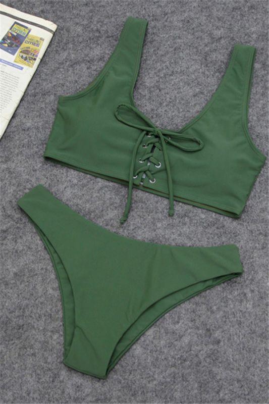 Plain Straps Lace-up Two Piece High Waist Sexy Bikini Sets