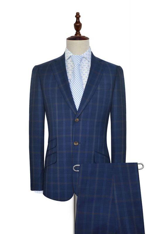 Costume de mariage de collier de châle de laine bleu foncé pour le marié | Nouvelle arrivée simple boutonnage costume sur mesure hommes