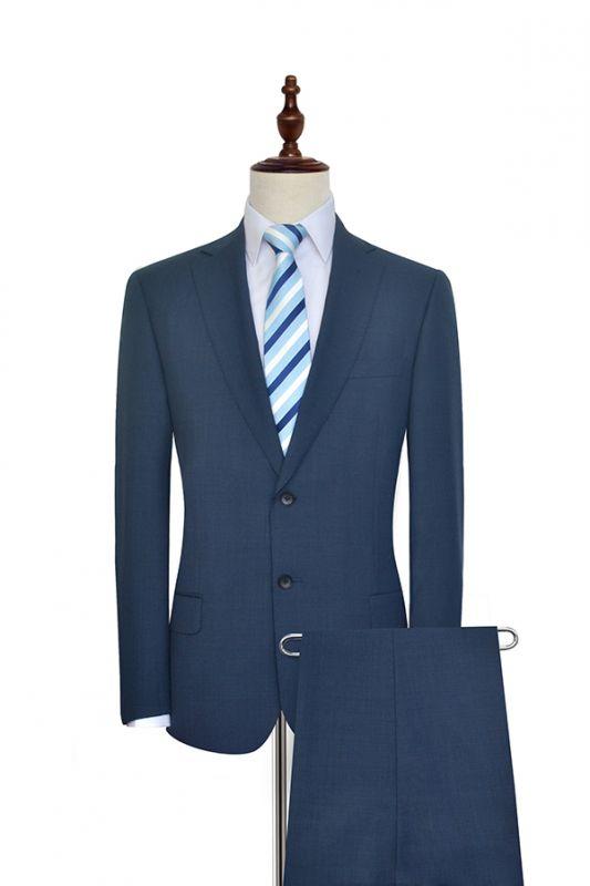 Gris foncé bleu côtelé revers costume pour hommes | Costume unique deux hommes d'affaires botton de la mode
