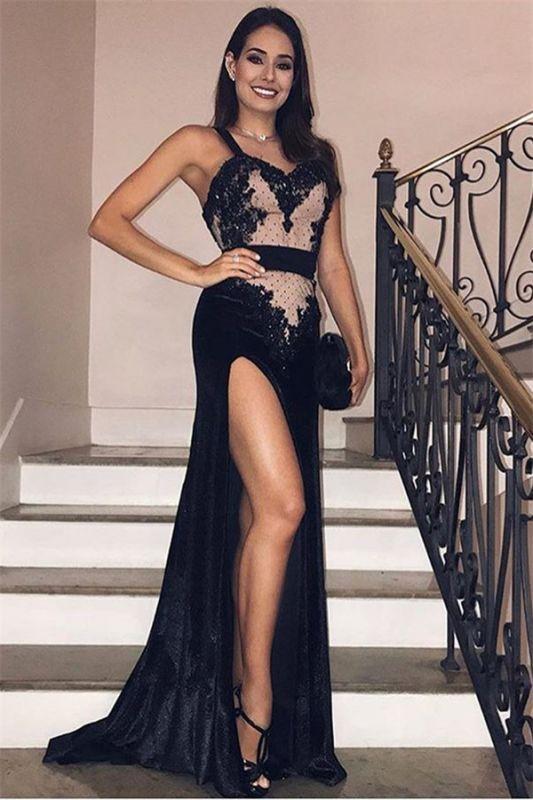 Chic Black Velvet Spaghetti-Straps Side-Slit Evening Gown