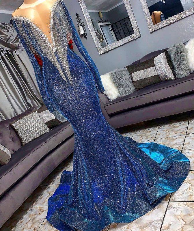 Luxurious Sequins Long Sleeve Mermaid Sheer Neckline Long Prom Dresses Cheap