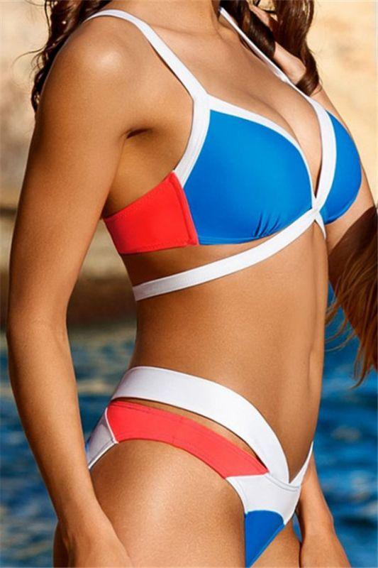 Mix Colors Bandage Straps High Waist Sexy Bikini Swimsuits
