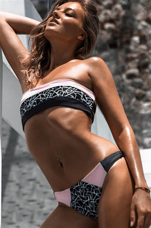 Strapless Bandage Two Piece Prints Sexy Bikini Swimsuits