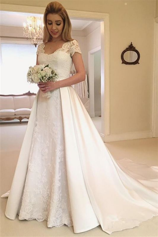 Latest Appliques Cap Sleeves Lace Wedding Dresses | Overskirt Jewel Cheap Bridal Gowns