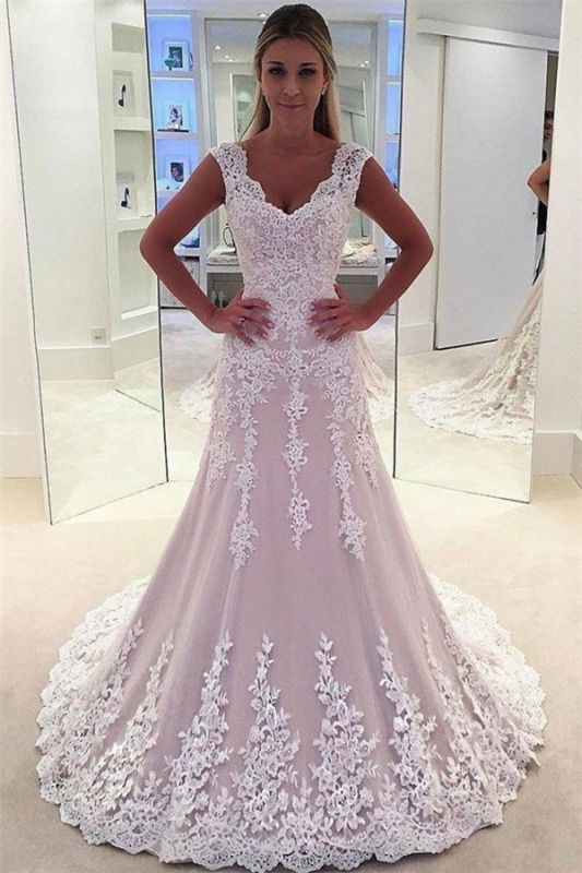 Gorgeous Pink Lace Appliques Wedding Dresses | Sleeveless Cheap Bridal Gowns