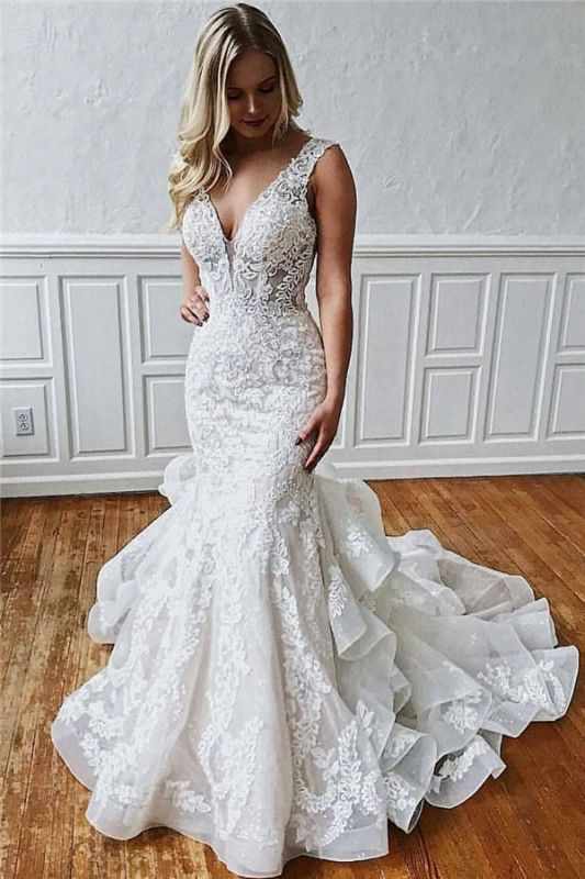 Latest Lace V-Neck Sexy Mermaid Wedding Dresses | Illusion Ruffles Sleeveless Backless Bridal Gowns