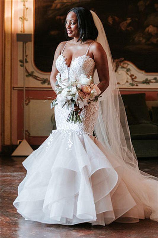 Elegant Spaghetti Straps Lace Appliques Wedding Dresses | Sexy  Mermaid Sleeveless Cheap Bridal Gowns