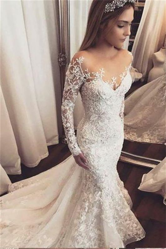 Gorgeous Beads Lace Appliques Off The Shoulder Wedding Dresses | Ruffles See Through Long Sleeve Cheap Bridal Gowns