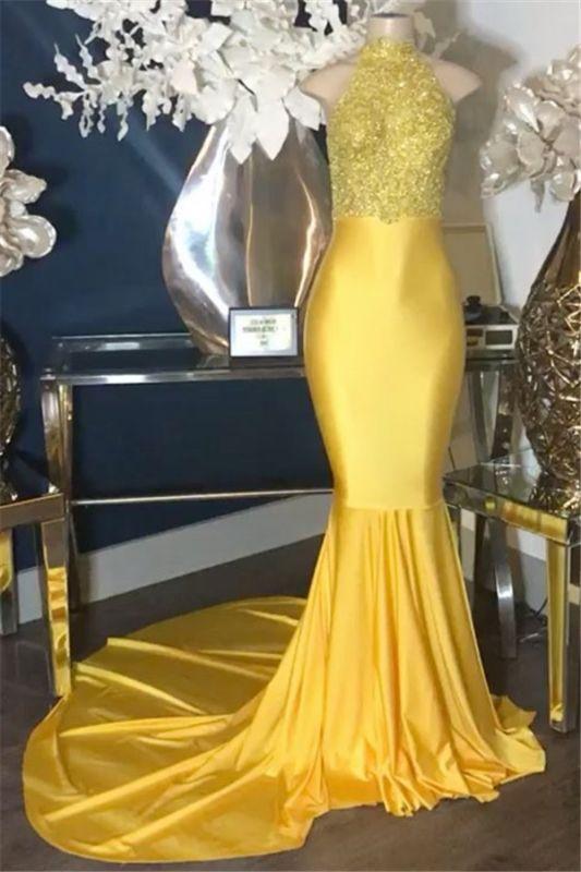 Yellow Appliques High Neck Sleeveless Mermaid Prom Dresses Cheap