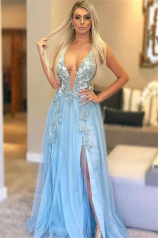 Blue Strpas V-Neck Appliques Sleeveless Tulle A-Line Prom Dress