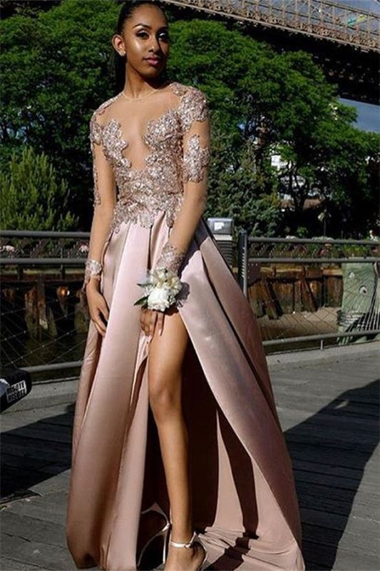 Chic Long-Sleeves Side Slit Backless Applique  Long Prom Dress