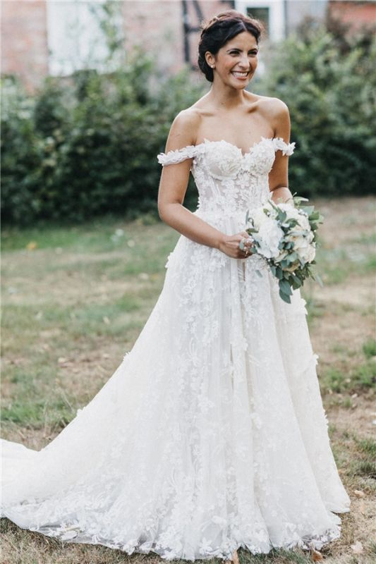 Latest Cheaps Off The Shoulder Wedding Dresses | Lace Appliques See Through Sleeveless Cheap Bridal Gowns