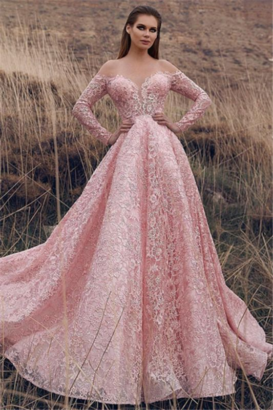 Pink Off-The-Shoulder Long-Sleeves Lace Applique Princess  Prom Dresses