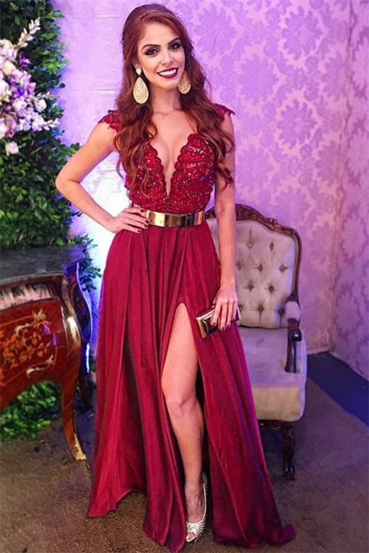 Glamorous Burgundy Straps V-Neck Applique Side-Slit  Prom Dress
