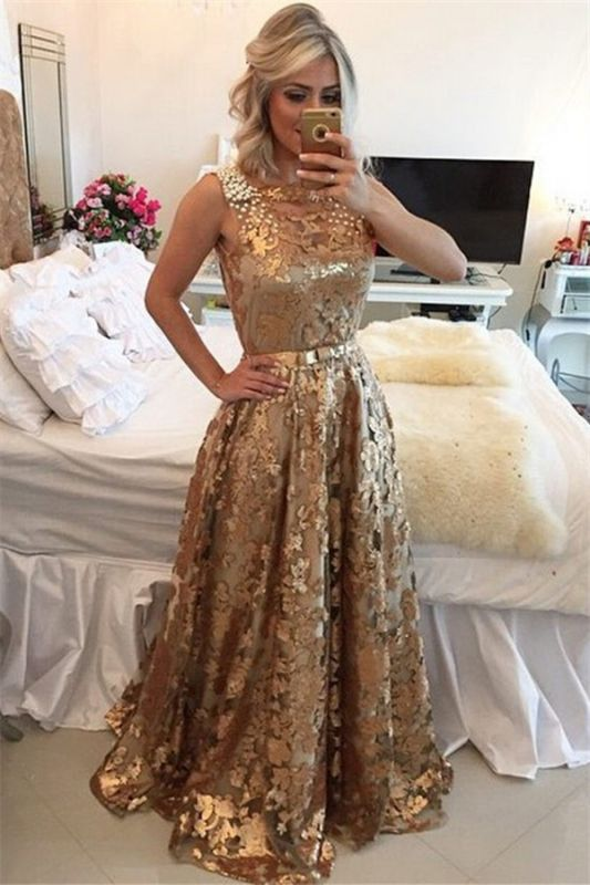 Chic Gold Straps Beaded Sequins Sleeveless Prom Dress