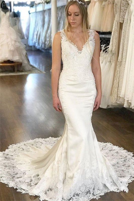 Sexy V-Neck Lace Appliques Wedding Dresses Online | Sleeveless Backless Sexy Mermaid Bridal Gowns Cheap