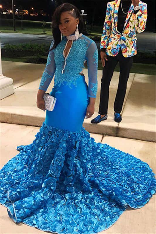 Glamorous Blue Sheer Tulle Lone-Sleeves Flower Applique Sexy Mermaid Prom Dresses