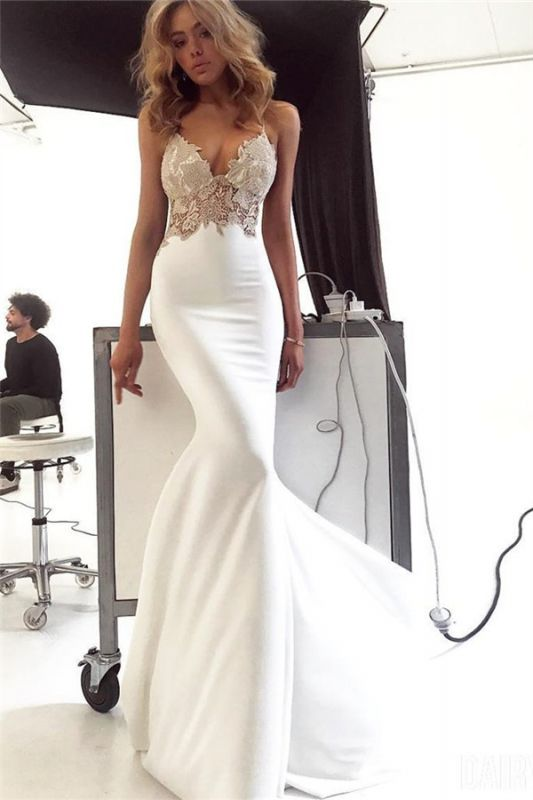 New Arrival Spaghetti Straps Open Back Appliques Sexy Mermaid Cheap Wedding Dresses