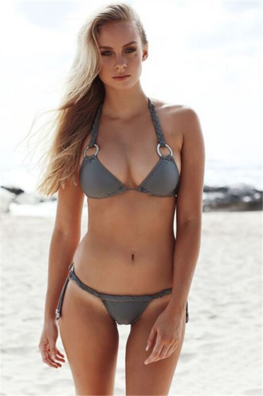 Halter Bandage Swimwear Triangle Two Piece Sexy Bikini Set