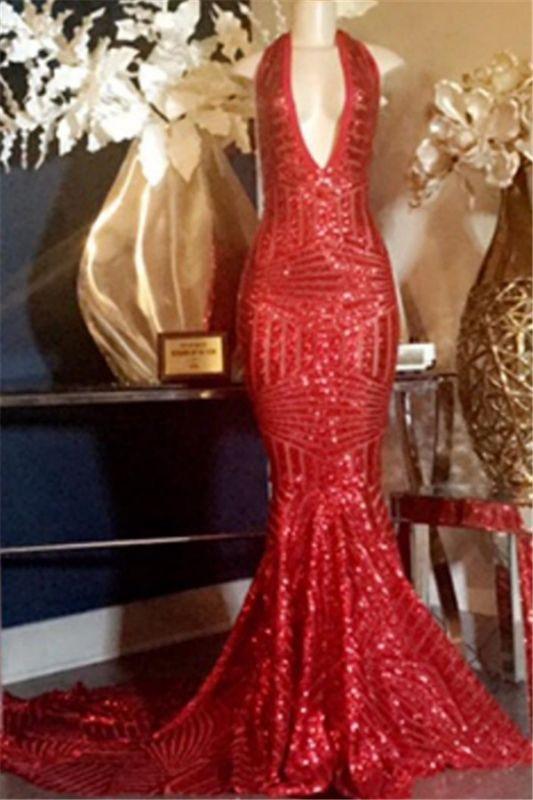 Glamorous Halter Sequins V-Neck Sleeveless Mermaid Long Prom Dresses Cheap