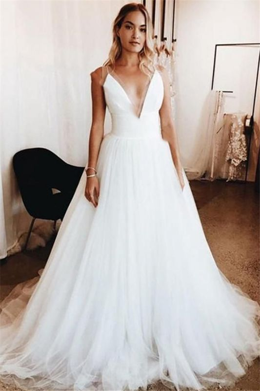 Elegant Sexy V-Neck Appliques Wedding Dresses | See Through Sleeveless Cheap Bridal Gowns