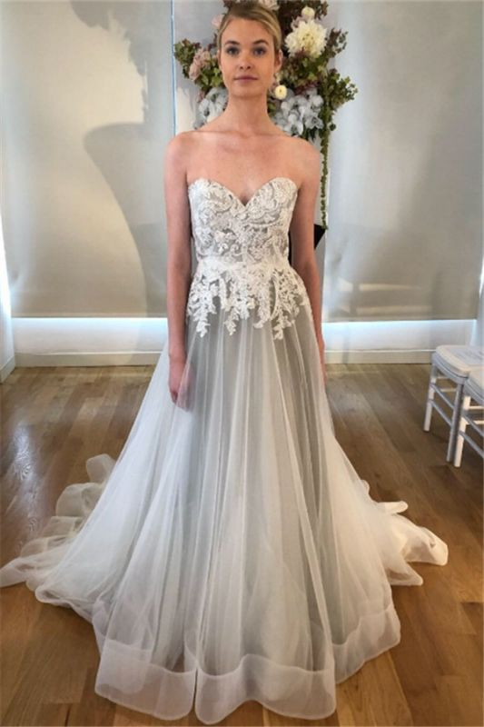 See Through Lace Appliques Sweetheart Wedding Dresses | Sleeveless Open Back Cheap Bridal Gowns