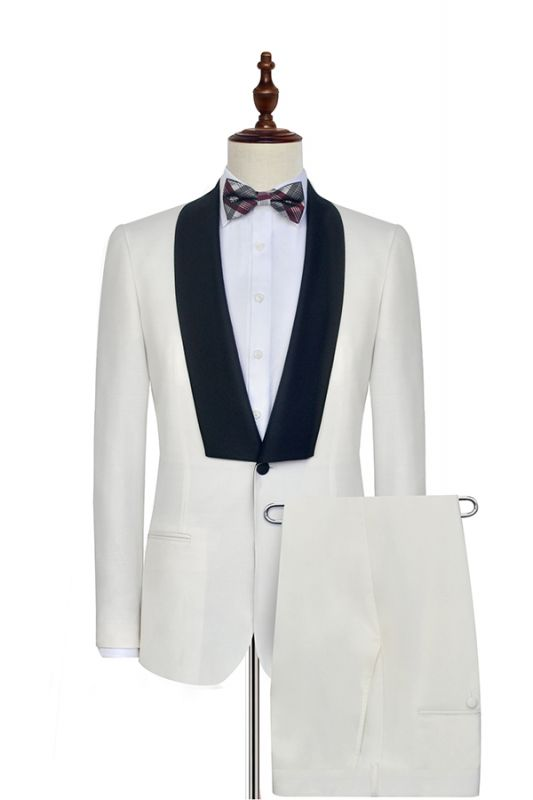 White Shawl Collar Single Breasted Wedding Suit   New Arrival 2 Pocket Custom Suit For Men