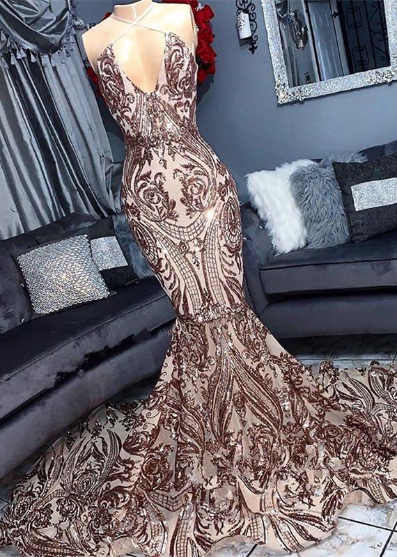 V-neck Sequins Sleeveless Mermaid Floor Length Long Prom Dresses Cheap