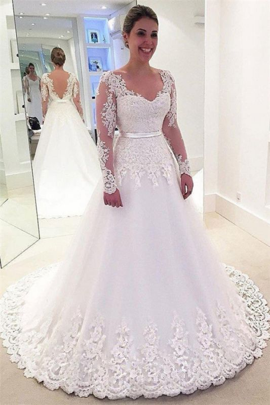 Gorgeous Lace Appliques Wedding Dresses | Sexy Long Sleeve Cheap Bridal Gowns