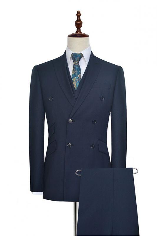 Hign Quality Dark Blue Double Breasted Custom Suit For Formal | Peak lapel 3 Pocket Tailored Best Groomsmen Suit