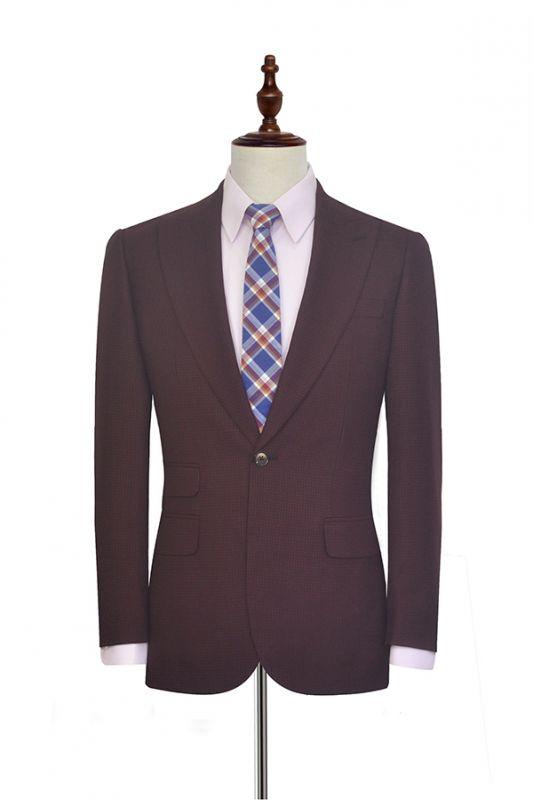 Dark Red Small grid Peak Lapel Custom Suit For Men | New Single Breasted One Button Groomsmen Men Business Suit