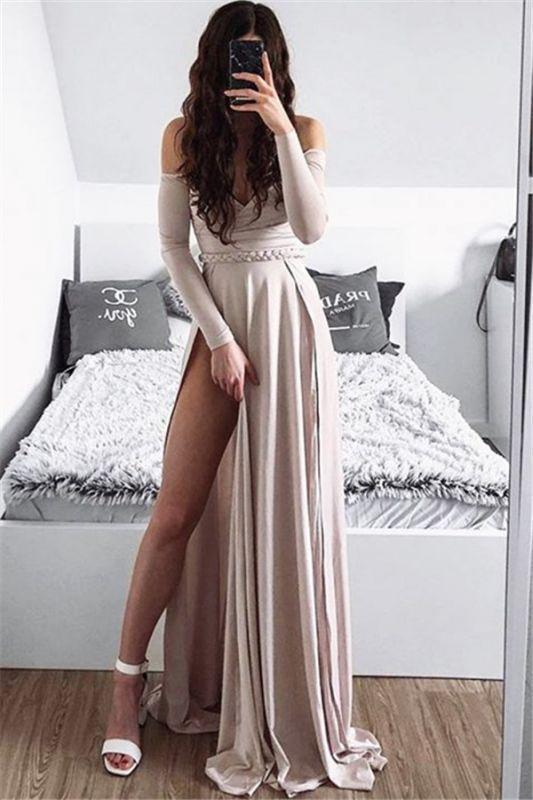 Glamorous Off-The-Shoulder Side-Slit  Prom Dress