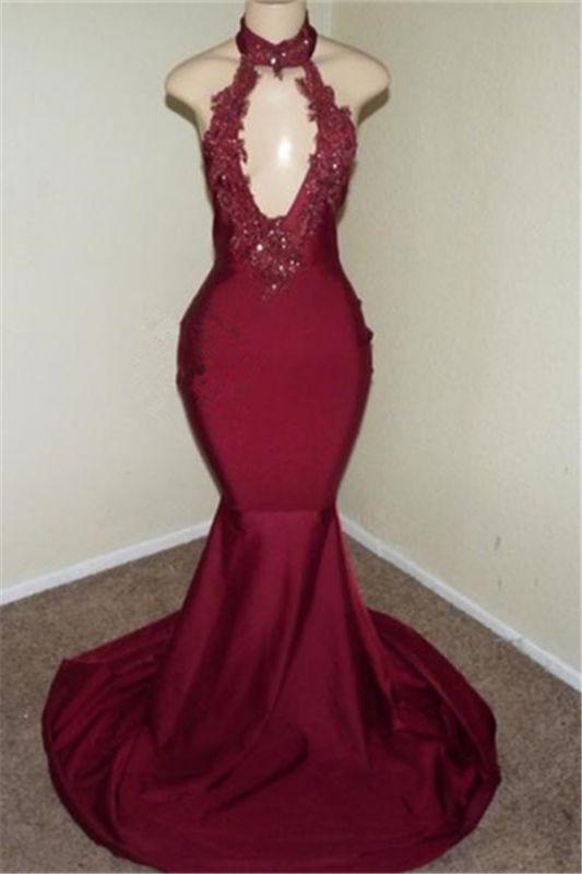 Burgundy Halter Appliques Sleeveless Open Back Mermaid Long Prom Dresses Cheap